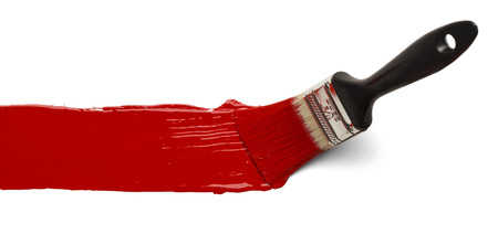 red paint: Paint Brush Stroke Across Page Isolated on White Background. Stock Photo