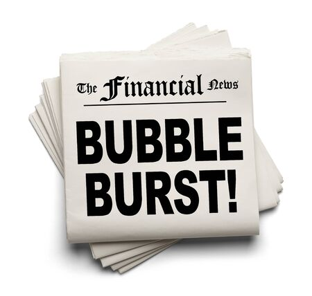 negative equity: Financial New Paper with Bubble Burst Headline Isolated on White Background.