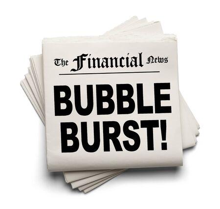 derrumbe: Nuevo Papel Financiero con burbuja estalló Encabezado aislada sobre fondo blanco. Foto de archivo