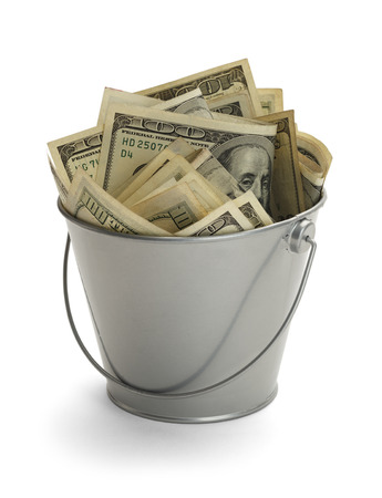 bucket of money: Bucket Filled with Lots of Money Isolated on White Background.