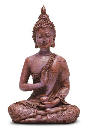 position d amour: Assis statue de Bouddha isolé sur un fond blanc.
