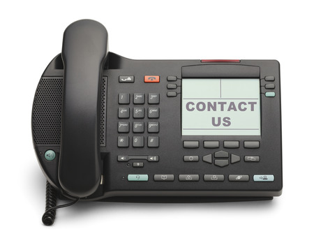 numpad: Black Office Phone With Contact Us Isolated on White Background.
