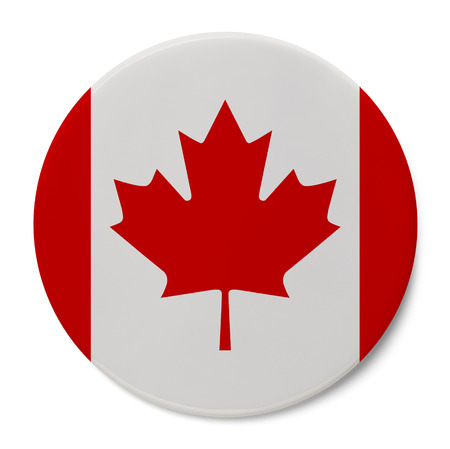 maple leaf: Round Pin With Canadian Flag Isolated on White Background.