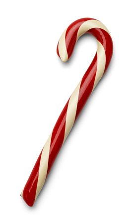 Red And White Christmas Candycane Isolated on White Background. Banco de Imagens