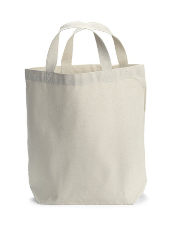 Front View of White Canvas Bag With Copy Space Isolated on White Background.