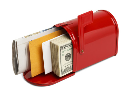 usps: Red Mailbox with Letters and Money Isolated on White Backgound. Stock Photo