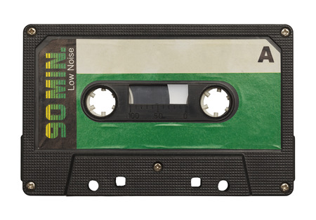 cassette: Blank Retro Music Tape Isolated on White Background.