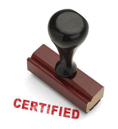 validez: Mango de madera con sello Stamper Certificado Rojo Aislado en el fondo blanco. Foto de archivo