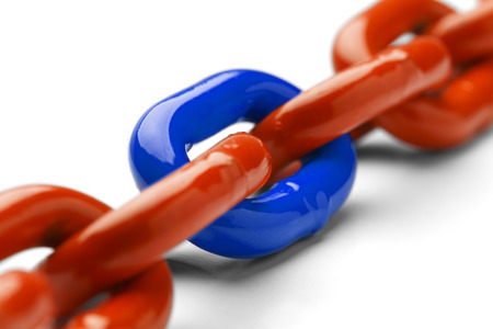 link up: Blue and Orange Chain Close Up Isolated on White Background. Stock Photo