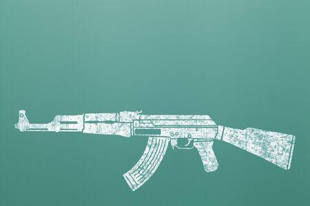 ak 47: Ak 47 Machine Gun Assault Rifle Draw on Green Chalk Board.