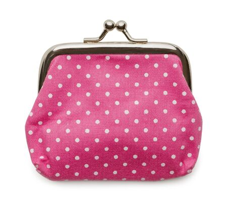 change purse: Closed Pink Change Purse Isolated on White Background.