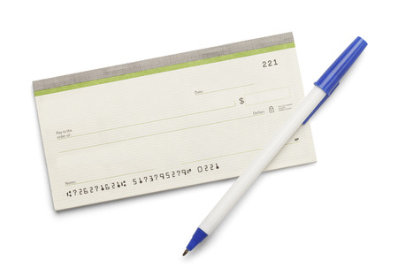 business book: Blank check book with pen isolated on a white background.
