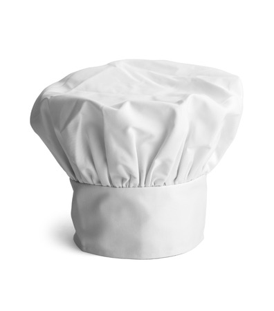 chef uniform: White cooks cap isolated on white background. Stock Photo