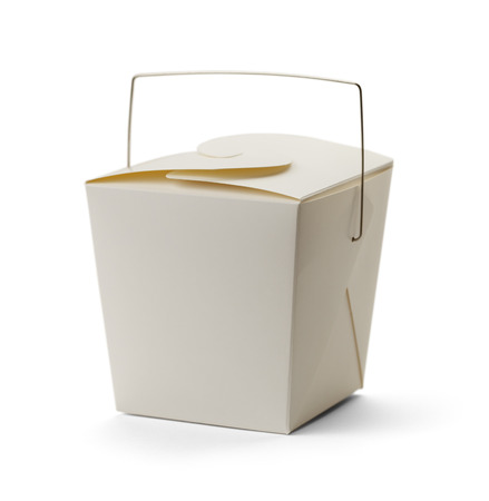 out of the box: White Take Out Box with Copy Space Isolated on White Background.