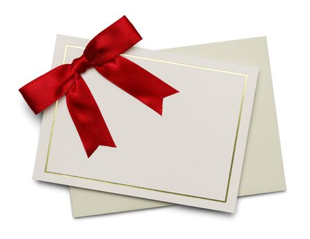 Blank Card with Red Ribbon and Envelope Isolated on White Background. Stock Photo