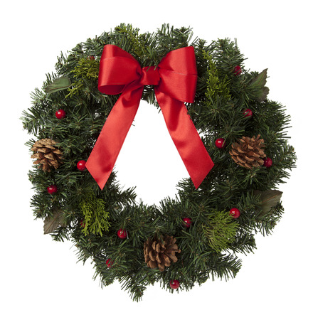 christmas wreath: Holiday Wreath with Pine Cones and Red Ribbon Isolated on White Background.
