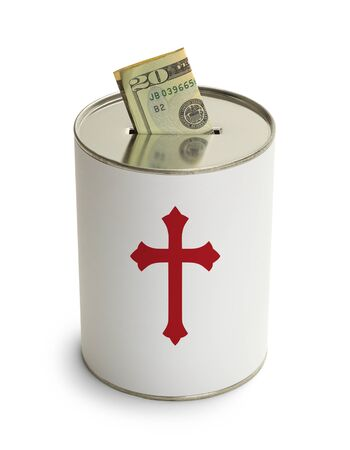 depositing: Church Donation Can with Cross and Money Isolated on White Background. Stock Photo