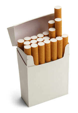 Pack of Cigarettes With Copy Space Isolated on White Background.