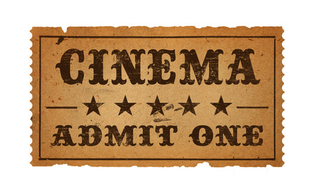 admit one: Antique Cinema Admit One Ticket  Isolated on White Background.