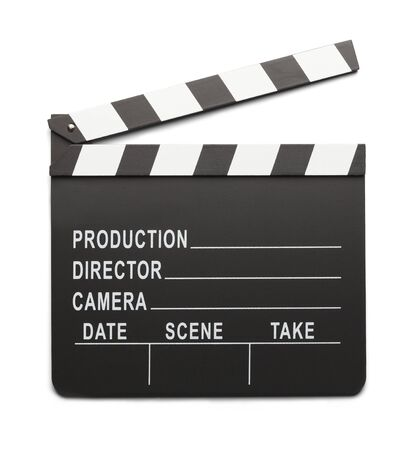 directors cut: Movie Directors Clap Board Isolated On White Background.