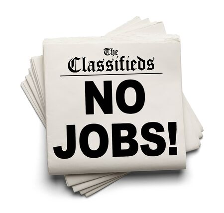 sourced: Newspaper Classifieds No Jobs Headline Isolated on White Background. Stock Photo