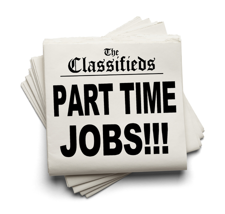 classifieds: Newspaper Classifieds Part Time Jobs Headline Isolated on White Background. Stock Photo