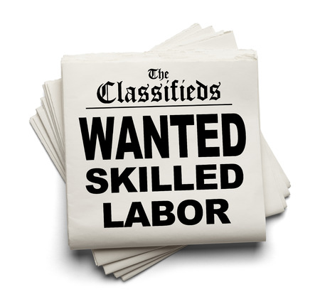 shortage: Newspaper Classifieds with Wanted Skilled Labor Headline Isolated on White Background.