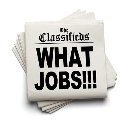 classifieds: Newspaper Classifieds with What Jobs Headline Isolated on White Background.