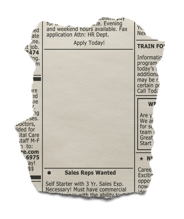 job advertisement: Newspaper clipping of the want ads with copy space isolated on white background.