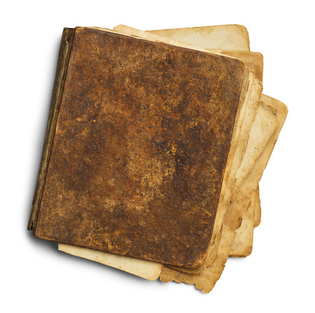 medieval medicine: Closed Old Book Messy With Copy Space Isolated on White Background. Stock Photo