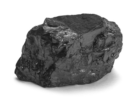 coal fire: Single Piece of Black Coal Isolated on White Background.