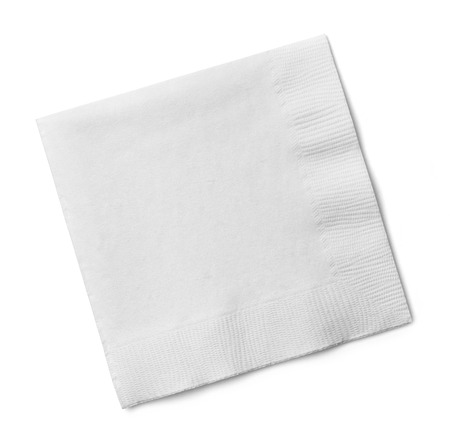 White Square Bar Napkin Isolated on White Background.