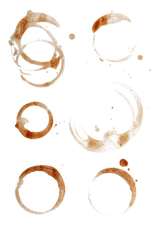 coffee stain: Coffee Cup Rings Isolated on White.