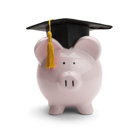 Piggy Bank with Black Graduation Hat Isolated on White Background.