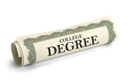 ged: Rolled up College Diploma Scroll Isolated on White Background.