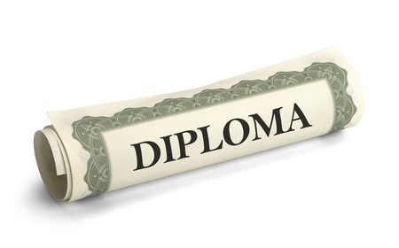 ged: Rolled up Graduation Diploma Scroll Isolated on White Background.