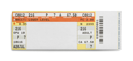 Concert Evet Ticket Isolated on White Background.