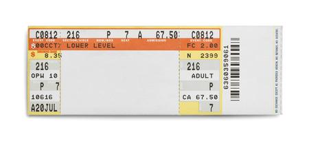 Concert Evet billets isolé sur fond blanc.