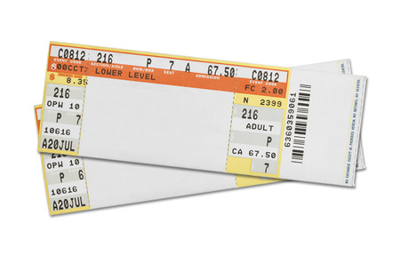 movie theater: Pair of Blank Concert Tickets Isolated on White Background.