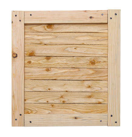 distribution box: Wood Crate Lid With Copy Space Isolated on White Background.