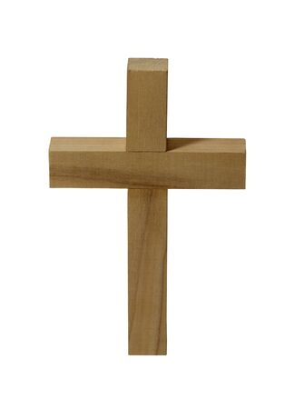 dogma: Wood Cross Isolated on White Background. Stock Photo