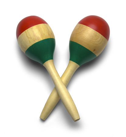 Cross Wooden Mexican Maracas Isolated on White Background. photo