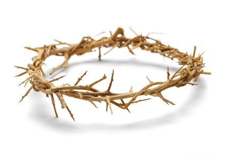 crown of thorns: Wooden Crown of Thorns Isolated on White  Background.