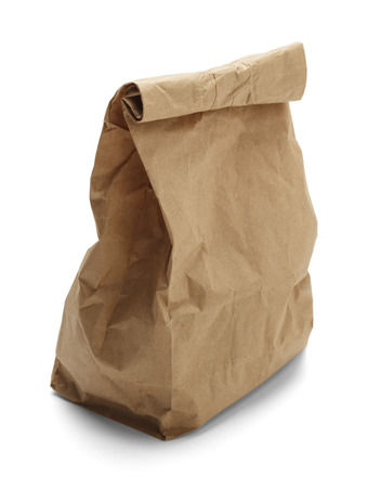 brown paper bag: Brown paper bag crunched isolated on a white background.