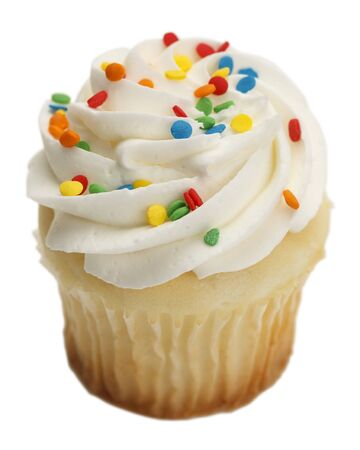 '' studio shot '': Single Cupcake with White Frosting and Sprinkles Isolated On White Background.