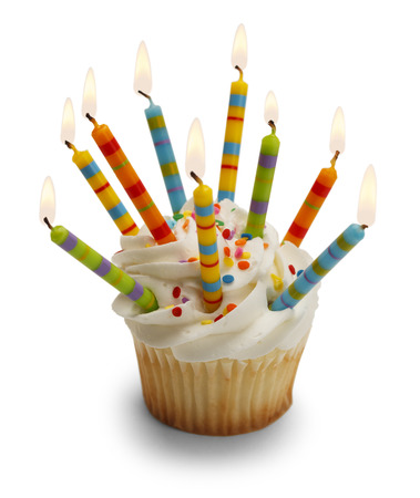 Cupcake with Lots of Candles Isolated on White Background. Banque d'images