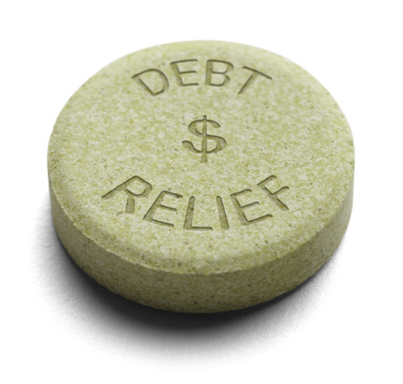 financial burden: Green Relief Medicine for Debt isolated on a White Background.