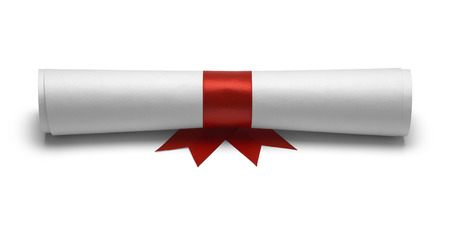 ged: Diploma with Red Ribbon Front View Isolated on White Background.