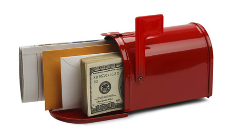 usps: Red Mailbox Filled with Mail and Money Isoalted on White Background. Stock Photo