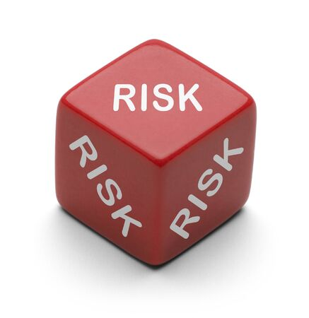 it is isolated: Red Dice wtih Risk on it Isolated on white background. Stock Photo